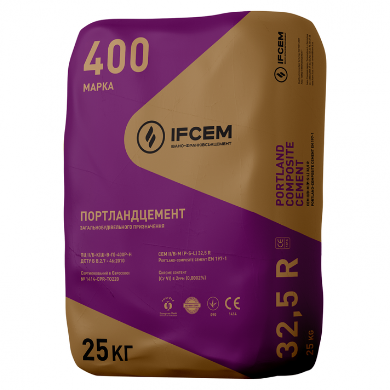 Цемент ПЦ II/Б-Ш-400 Ивано-Франковск 25 кг