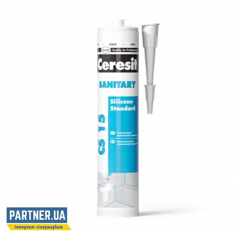 Герметик силиконовый санитарный Церезит ЦС 15 Белый (Ceresit CS 15) 280 мл